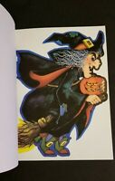 1980 SET OF 2 VINTAGE HALLMARK HALLOWEEN GHOST W BAT AND FLYING WITCH DIE CUT -