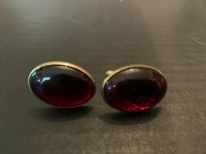 Vintage 1950's Anson Oval Red Lucite Cufflinks