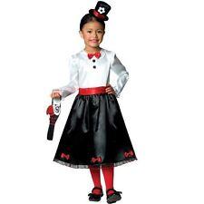 Girls Victorian Nanny Costume Poppins Fancy Dress Kids Book Day 5-6yrs