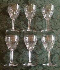 "Set 6 Val St. Lambert Zermott Cut Avon Pattern Crystal Goblets 6.25""T Hock Glass"