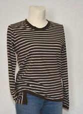 Damen Langarmshirt Ringel-Shirt Tunika Gr. 44-46 taupe/weiß gestreift neuwertig