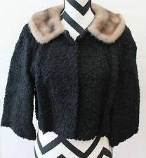"Vintage Short Black Faux Fur Overcoat Jacket ""A Luxury Fabric"" L#1062"