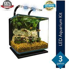 Contour 3 Aquarium Kit 3 Gallons, Rounded Glass Corners, Includes Led Lighting