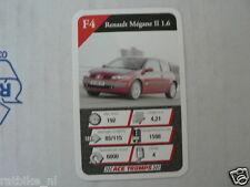 20 AUTOSALON F4 RENAULT MEGANE 11 1.6 CAR KWARTET KAART, QUARTETT CARD