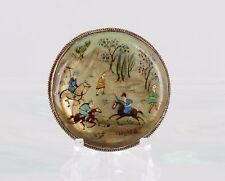 VINTAGE HAND MADE & PAINTED PERSIAN STORY ART BROOCH COPPER BACK FASHION 7906