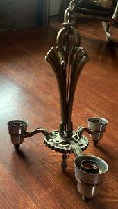 Antique 3 Arm Brass Deco Victorian Hanging Brass Chandelier