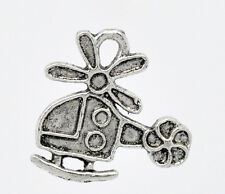 10 Pcs Antique Silver Helicopter Charm Pendants 19x18mm  LC0701