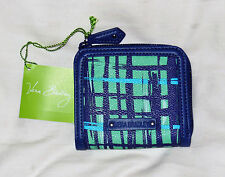 "RARE! NWT Vera Bradley Faux Leather TAKE THE ""L"" WALLET in NAVY/TEAL ART PLAID"