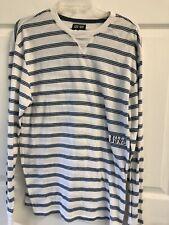 Billabong Lightweight Thermal Shirt Stripes Size Large White Blue
