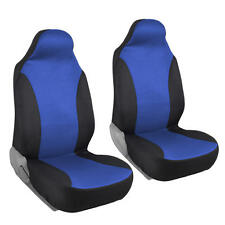 Black/Blue Front Pair Seat Covers for Car - Flat Cloth Mesh Polyester 2pc Set