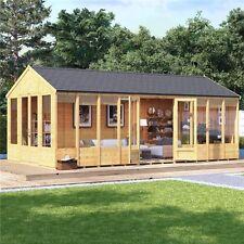 20 x 10 Reverse Apex Modern Garden Summer House Tongue & Groove Double Door