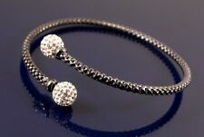 RHODIUM PLATED CRYSTAL BALL DESIGN GRAPHITE GREY / BLACK BANGLE BRACELET WAS £30