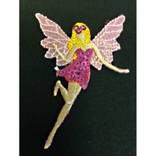Pink Fairy Glitter Sequins Iron On Craft Motif Stylish Patch