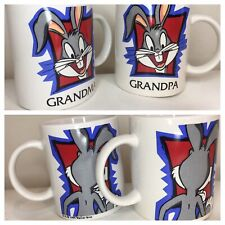 Vintage Lot Movie World Collection Bugs Bunny Coffee Mugs 1999 Grandma Grandpa