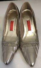 Ladies 37 / 6 Alan Chan Couture Gold Metallic Heels Shoes Party Formal EUC
