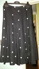 BEAUTIFUL COAST BLACK LINEN  LINED SKIRT - SIZE 10 WITH GOLD EMBROIDERED SPOTS