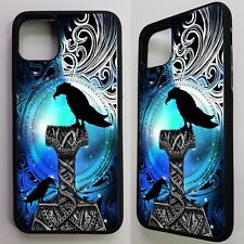Raven bird crow odin thor norse god viking art graphic case cover for iphone 11