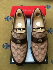 Gucci Mens Shoes Beige Brown Canvas Leather Loafers UK 9 US 10 EU 43 TEAM MOTIF