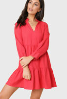 Womens Red Linen Cotton Long Sleeve Gathered Smock Dress With Cuffed Sleeves