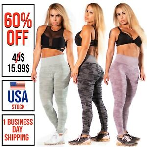 Seamless Camo Leggings Yoga Pants High Waist Fitness Gym Workout Scrunch Push Up