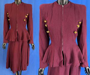 Vintage Lilli Ann Brass Button Burgundy Red Wool Peplum Suit Jacket Swing Skirt
