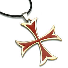 Knights Templar Red & Gold Cross Pendant + Black Waxed Cord Choker Necklace