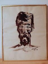 Tableau dessin encre buste homme personnage russe pays Europe de l'est