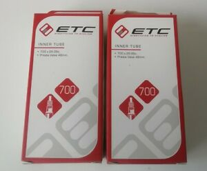 2 x ETC Hybrid Cyclocross Road Bike 700 x 25-35c Inner Tube Presta Valve