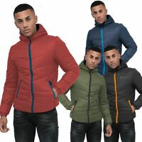 Mens Crosshatch Quilted Puffer Padded Hooded Jacket Coat Contrast Zip Pockets