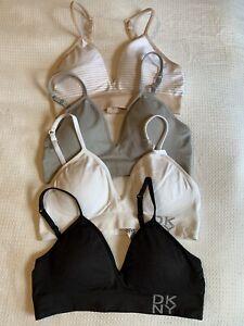 DKNY Women's Seamless Bralette Bundle of 4 Adjustable Straps Size M