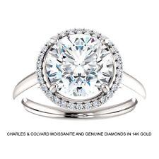 Diamond Ring in 14k White Gold 3.25 Carat Charles & Colvard Moissanite &