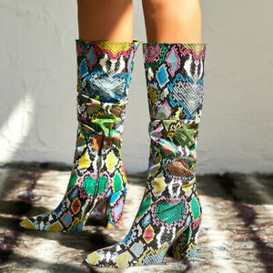 Womens Multi-colors Snakeskin Printed Knee High Riding Boots Block Heels Shoes