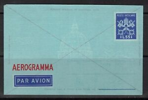 Vatican City Aerogramme 55 L unused 1950