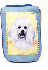 White Poodle Foldable Tote Bag - Durable, Waterproof - Zippered Market Tote