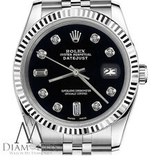 Midsize Rolex 31mm Datejust Black Color 8+2 Diamond Accent Dial 18k Fluted Bezel