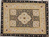Handmade Precious Jewel Carpet Zardozi Kashmir Rug Wall Hanging Art Tapestry