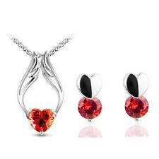 Rojo Zircon Angel Corazones romántico Joyas Set Aretes Y Collar S501