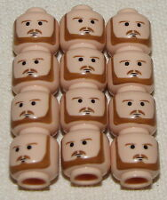 LEGO 12 NEW QUI GON JINN FLESH COLORED HEADS WITH BEARD PIECES