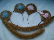 Twin Mouse Ears And Tail Light Brown & Pink/Blue -2 Sets-Boy & Girl Fancy Dress