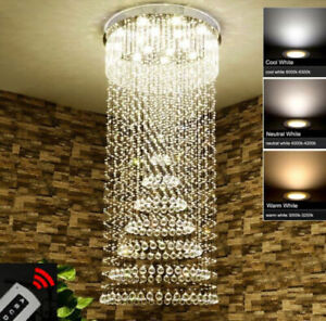 Modern remote LED Chandelier Crystal Light Ceiling Villa Living Stairs Light #81
