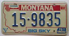 Montana 1978 LAKE COUNTY BICENTENNIAL License Plate NICE QUALITY # 15-9835