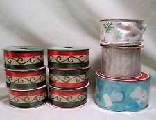 Christmas Craft Ribbon,Green Red Gold Stripe,Blue White Mittens,Snowflake Ribbon