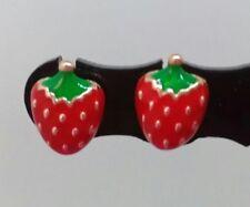STRAWBERRY stud earrings RETRO jewellery FRUIT earrings  STRAWBERRY earrings