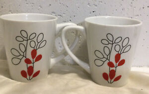 Set Of 2 Gibson Home Mugs, White With Red Modern Art Flower Buds