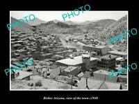 OLD POSTCARD SIZE PHOTO BISBEE ARIZONA VIEW OF THE TOWN c1940