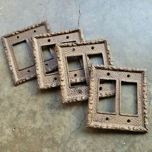 Rustic Cast Iron Double Light Switch Outlet Plate Cover Brown 4 Pieces