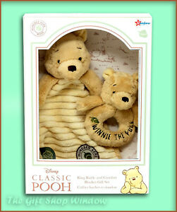 WINNIE THE POOH HUNDRED ACRE WOOD DISNEY GIFT SET COMFORTER & RATTLE BABY SHOWER