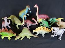 12 Plastic Toy Dinosaur Mixed Lot Imperial/Luckystar/WM84495 T-Rex Brachiosaurus