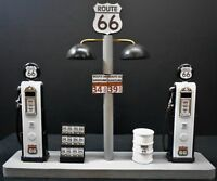 """"""" ROUTE 66 """" GAS PUMP ISLAND DISPLAY W/GAS PRICE SIGN, 1:18TH, HAND CRAFTED, NEW"""
