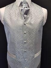 SW4 Mens Brand New Silver Grey Wedding Evening Formal Suit Waistcoat + Cravat